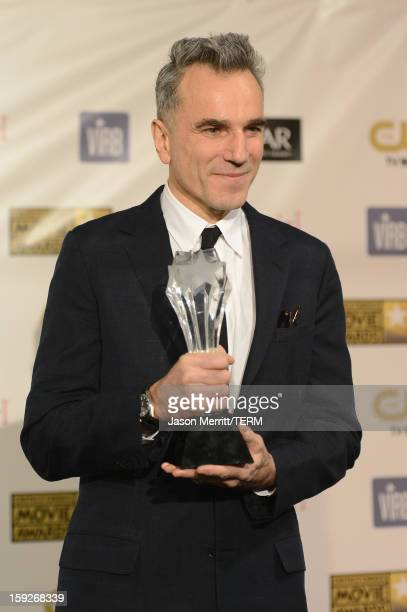 Actor Daniel DayLewis winner of Best Actor for 'Lincoln' poses in the press room at the 18th Annual Critics' Choice Movie Awards held at Barker...