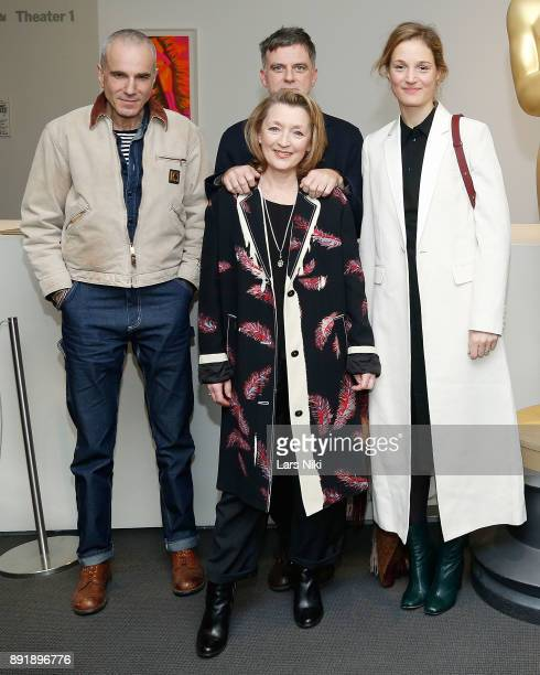 Actor Daniel DayLewis writer director and producer Paul Thomas Anderson and actors Lesley Manville and Vicky Krieps attend The Academy of Motion...