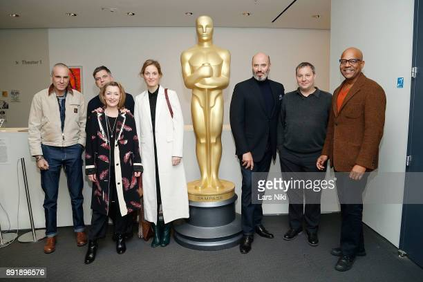 Actor Daniel DayLewis writer director and producer Paul Thomas Anderson actors Lesley Manville and Vicky Krieps costume designer Mark Bridges editor...