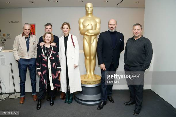 Actor Daniel DayLewis writer director and producer Paul Thomas Anderson actors Lesley Manville and Vicky Krieps costume designer Mark Bridges and...