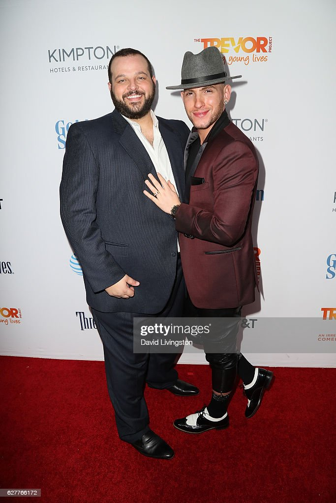 Actor Daniel Franzese and Joseph Bradley Phillips arrive at the TrevorLIVE Los Angeles 2016 Fundraiser at The Beverly Hilton Hotel on December 4, 2016 in Beverly Hills, California.