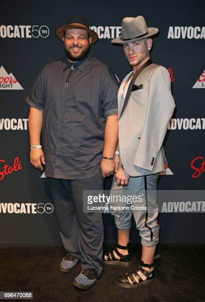 Actor Daniel Franzese and Joseph Bradley Phillips attend The Advocate 50th anniversary gala at Mack Sennett Studios on June 15 2017 in Los Angeles...