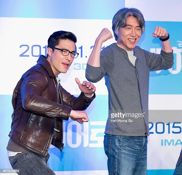 Actor Daniel Henney and Character design supervisor Kim Jin attend the press conference for Disney 'Big Hero 6' at Conrad Hotel on January 14 2015 in...