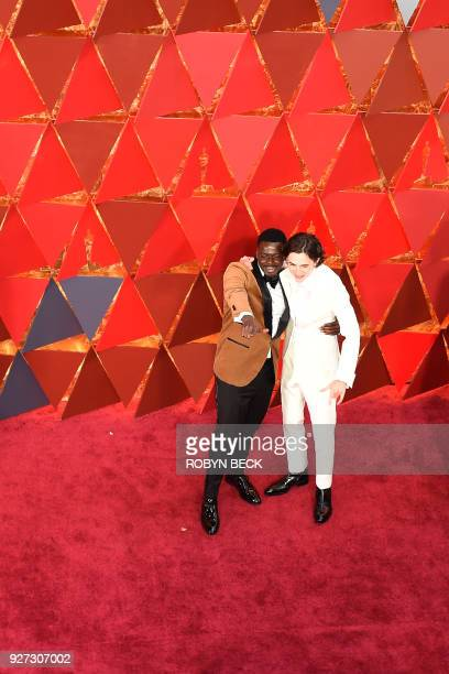 Actor Daniel Kaluuya and US French actor Timothee Chalamet arrive for the 90th Annual Academy Awards on March 4 in Hollywood California / AFP PHOTO /...