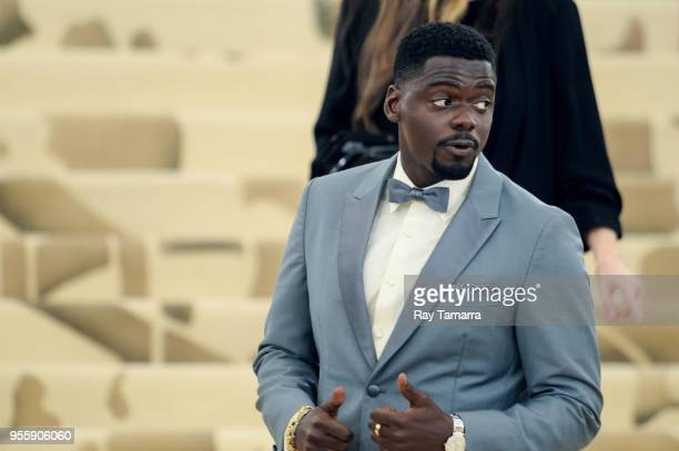 Actor Daniel Kaluuya enters the Heavenly Bodies Fashion The Catholic Imagination Costume Institute Gala at The Metropolitan Museum on May 07 2018 in...