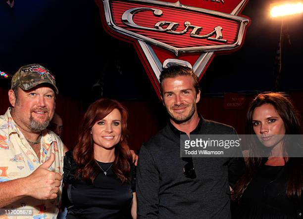 Actor Daniel Lawrence Whitney aka Larry the Cable Guy Cara Whitney soccer player David Beckham and singer Victoria Beckham attend the after party for...