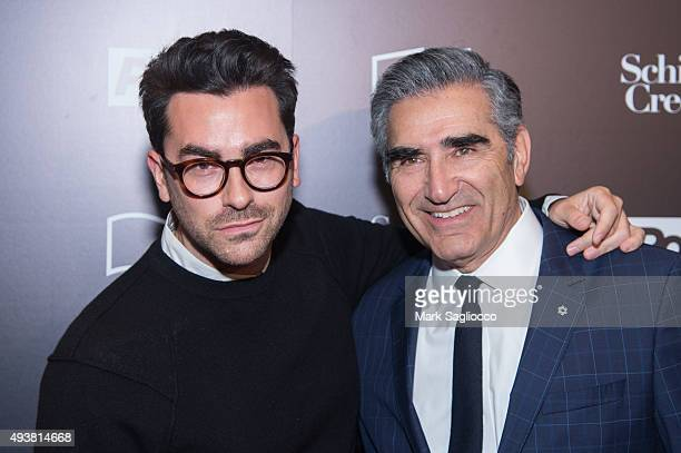 "Actor Daniel Levy and Eugene Levy attend the 11th Annual New York Television Festival -""Schitt's Creek"" Screening at SVA Theater on October 22, 2015..."