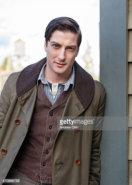 """Actor Daniel Lissing takes a break on the set of """"When Calls the Heart"""" TV series on February 20, 2014 in Vancouver, Canada."""