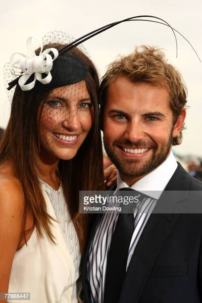Actor Daniel MacPherson and partner Kristi Townley pose together on the first day of the Melbourne Cup Carnival Derby Day at Flemington Race Course...