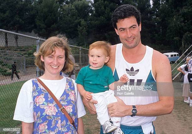 Actor Daniel McVicar wife Darling and son Hank attend McDonald's Jackie JoynerKersee Invitational on June 10 1989 at Drake Stadium UCLA in Westwood...