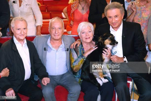 Actor Daniel Prevost main guest actor Francois Berleand singer Line Renaud and presenter Michel Drucker with his dog attend 'Vivement Dimanche'...