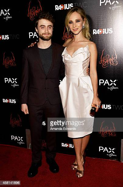 """Actor Daniel Radcliffe and actress Juno Temple arrive at the Los Angeles premiere of """"Horns"""" at the ArcLight Hollywood on October 30, 2014 in..."""