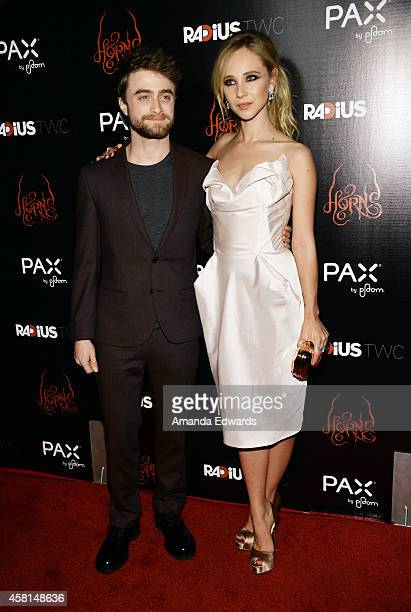 Actor Daniel Radcliffe and actress Juno Temple arrive at the Los Angeles premiere of 'Horns' at the ArcLight Hollywood on October 30 2014 in...