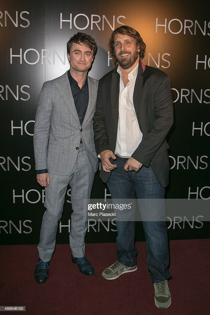 Actor Daniel Radcliffe and director Alexandre Aja attend the 'Horns' Premiere at Cinema Gaumont Marignan on September 16, 2014 in Paris, France.