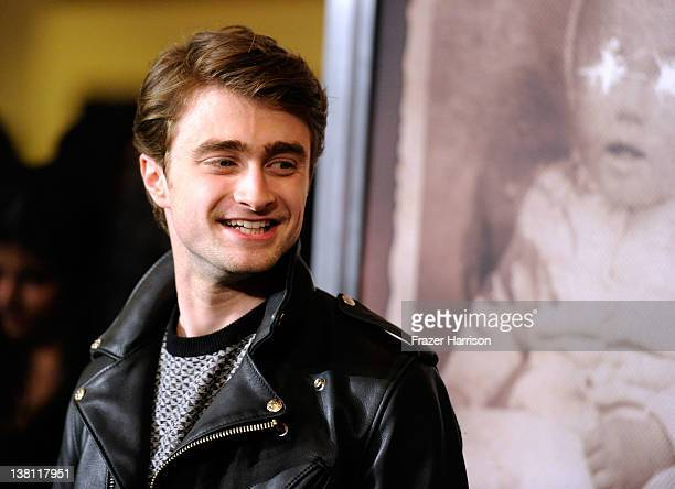 "Actor Daniel Radcliffe arrives at the Premiere of CBS Films' ""The Woman In Black""at Pacific Theaters at the Grove on February 2, 2012 in Los Angeles,..."