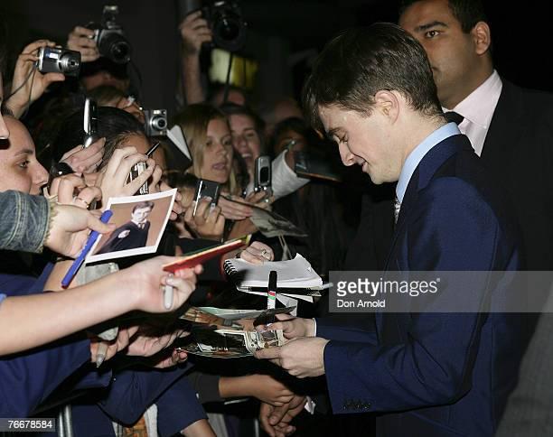 "Actor Daniel Radcliffe arrives at the Sydney Premiere for ""December Boys"" at Hoyts Cinema, The Entertainment Quarter on September 11, 2007 in Sydney,..."
