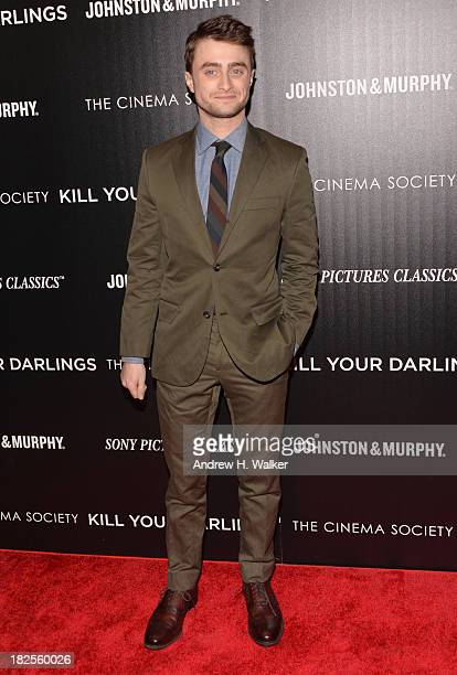 Actor Daniel Radcliffe attends The Cinema Society and Johnston Murphy screening of Sony Pictures Classics' Kill Your Darlings at Paris Theater on...