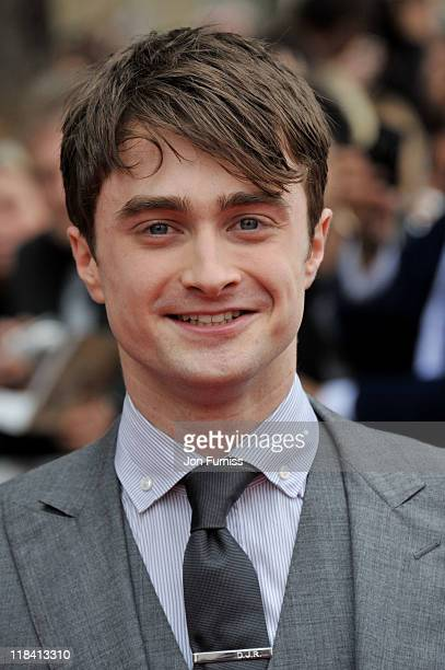 Actor Daniel Radcliffe attends the Harry Potter And The Deathly Hallows Part 2 world premiere at Trafalgar Square on July 7 2011 in London England