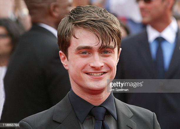 Actor Daniel Radcliffe attends the premiere of Harry Potter and the Deathly Hallows Part 2 at Avery Fisher Hall Lincoln Center on July 11 2011 in New...