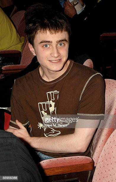 Actor Daniel Radcliffe attends the press performance for Ducktastic at the Albery Theatre on October 19 2005 in London England The show is a comedy...