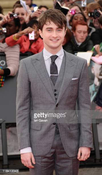 Actor Daniel Radcliffe attends the World Premiere of Harry Potter and The Deathly Hallows Part 2 at Trafalgar Square on July 7 2011 in London England