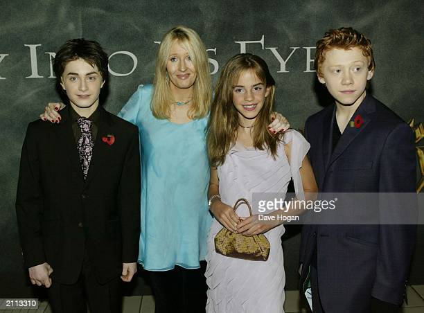 Actor Daniel Radcliffe, author J.K. Rowling, actress Emma Watson and actor Rupert Grint attend the world premiere of 'Harry Potter and the Chamber of...