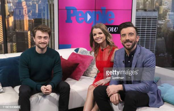 Actor Daniel Radcliffe, hosts Jeremy Parsons and host Andrea Boehlke visit People Now on December 06, 2019 in New York, United States.