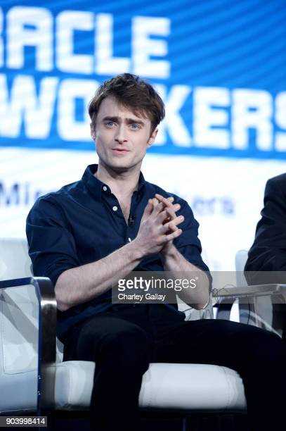 Actor Daniel Radcliffe of 'Miracle Workers' speaks onstage during the TBS portion of the TCA Turner Winter Press Tour 2018 Presentation at The...