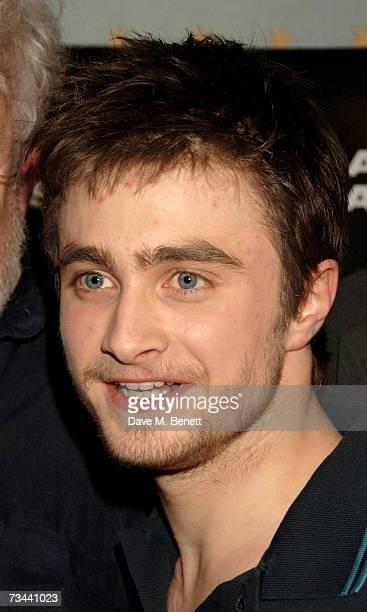 Actor Daniel Radcliffe pose backstage at the press night of 'Equus' at the Gielgud Theatre on February 27 2007 in London England