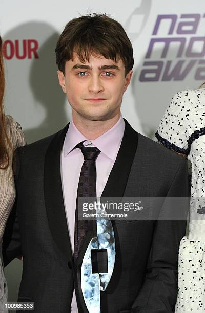 Actor Daniel Radcliffe poses in the winners room at the National Movie Awards 2010 at the Royal Festival Hall on May 26 2010 in London England