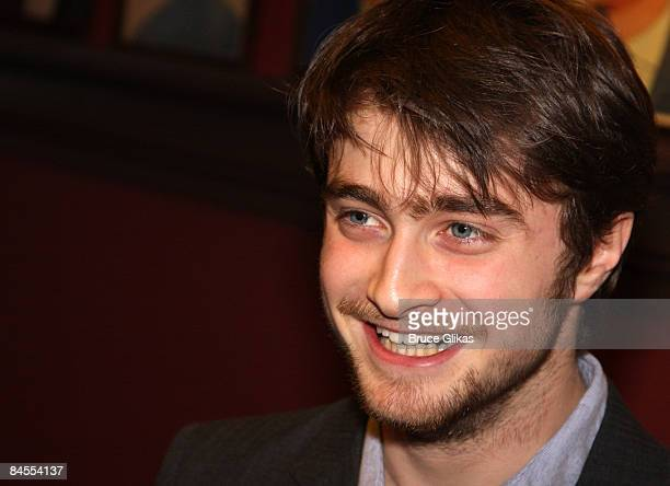 Actor Daniel Radcliffe receives his portrait celebrating his performance in Equus on Broadway at Sardi's on January 29 2009 in New York City