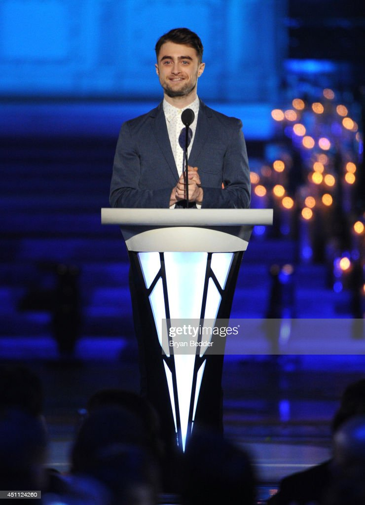 Actor Daniel Radcliffe speaks onstage during Logo TV's 'Trailblazers' at the Cathedral of St. John the Divine on June 23, 2014 in New York City.