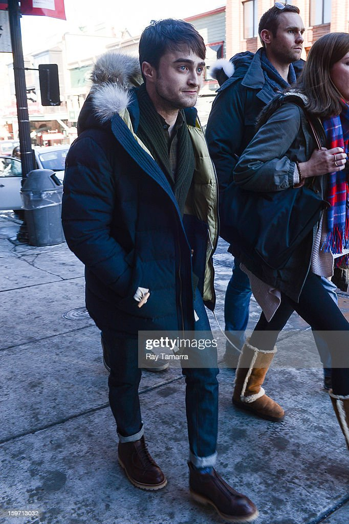 Actor Daniel Radcliffe walks in Park City on January 18, 2013 in Park City, Utah.