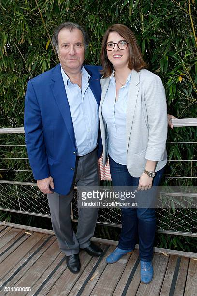 Actor Daniel Russo and his daughter Charlotte attend Day Seven of the 2016 French Tennis Open at Roland Garros on May 28 2016 in Paris France