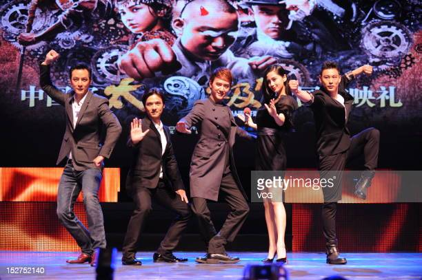 Actor Daniel Wu director Stephen Fung actor Feng Shaofeng actress Angelababy and actor Yuan Xiaochao attend Taichi 0 press conference at Shimao...