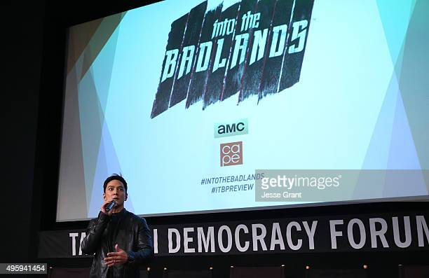 Actor Daniel Wu speaks onstage at AMC and CAPE Celebrate Into The Badlands at the Japanese American National Museum on November 5 2015 in Los Angeles...