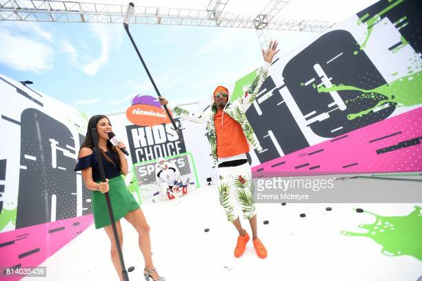 Actor Daniella Monet and TV personality Nick Cannon attend Nickelodeon Kids' Choice Sports Awards 2017 at Pauley Pavilion on July 13 2017 in Los...