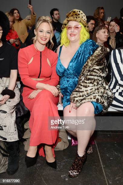 Actor Danielle Savre and guest attend the Chromat AW18 front row during New York Fashion Week at Industria Studios on February 9 2018 in New York City
