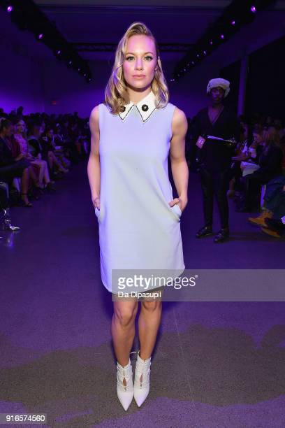 Actor Danielle Savre attends the Dan Liu fashion show during New York Fashion Week The Shows at Gallery II at Spring Studios on February 10 2018 in...