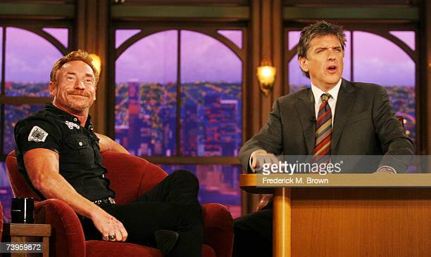 Actor Danny Bonaduce and host Craig Ferguson gesture during a segment of The Late Late Show with Craig Ferguson at CBS Television City on April 23...