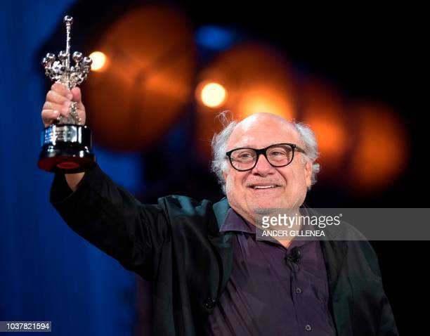 US actor Danny de Vito receives the Donostia award at the 66th San Sebastian Film Festival in the northern Spanish Basque city of San Sebastian on...