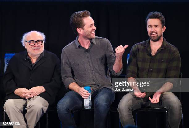 Actor Danny DeVito, actor/producer Glenn Howerton, and actor/producer Rob McElhenney speak onstage during the 'It's Always Sunny' panel, part of...