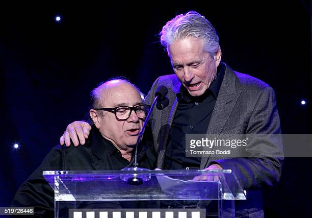 Actor Danny DeVito and honoree Michael Douglas speak onstage during the 5th Annual Reel Stories Real Lives event benefiting MPTF at Milk Studios on...