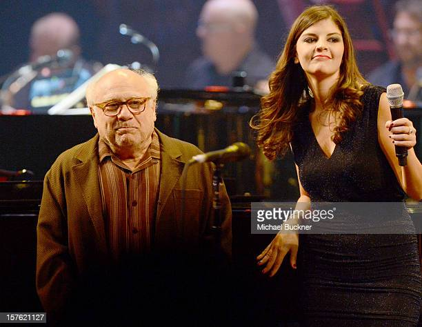 Actor Danny DeVito and singer Nikki Yanofsky onstage during a celebration of Carole King and her music to benefit Paul Newman's The Painted Turtle...