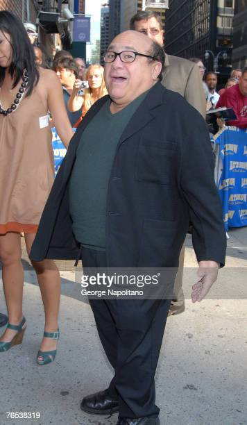 Actor Danny DeVito arrives at The Late Show with David Letterman September 5 2007 at The Ed Sullivan Theater in New York City