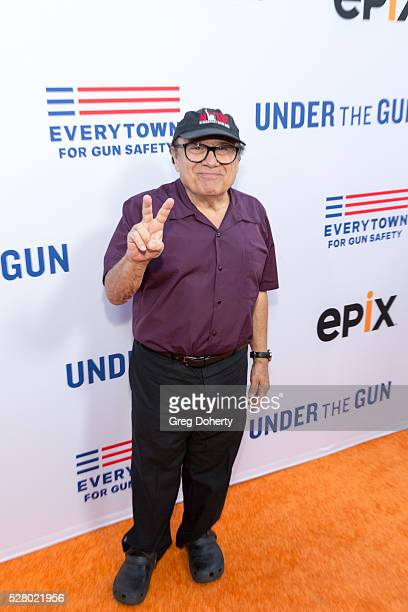 Actor Danny Devito arrives at the Premiere Of EPIX's Under The Gun at the Samuel Goldwyn Theater on May 3 2016 in Beverly Hills California