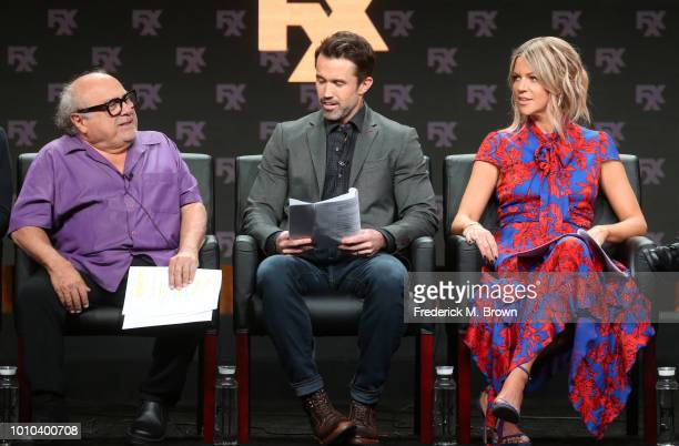 Actor Danny DeVito, Creator/executive producer/writer/actor Rob McElhenney, and actor Kaitlin Olson speak onstage at the 'It's Always Sunny in...
