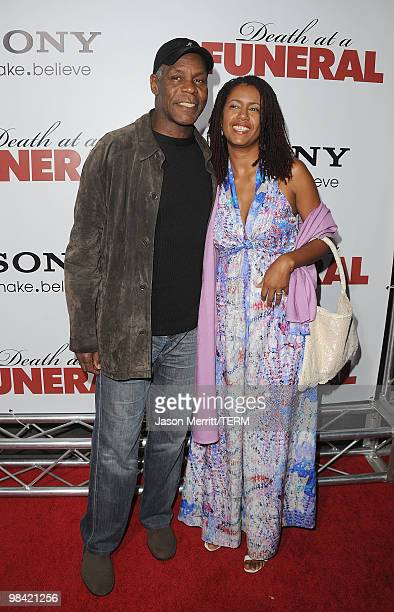 Actor Danny Glover and wife Asake Bomani arrive at the Death At A Funeral Los Angeles Premiere at Pacific's Cinerama Dome on April 12 2010 in...