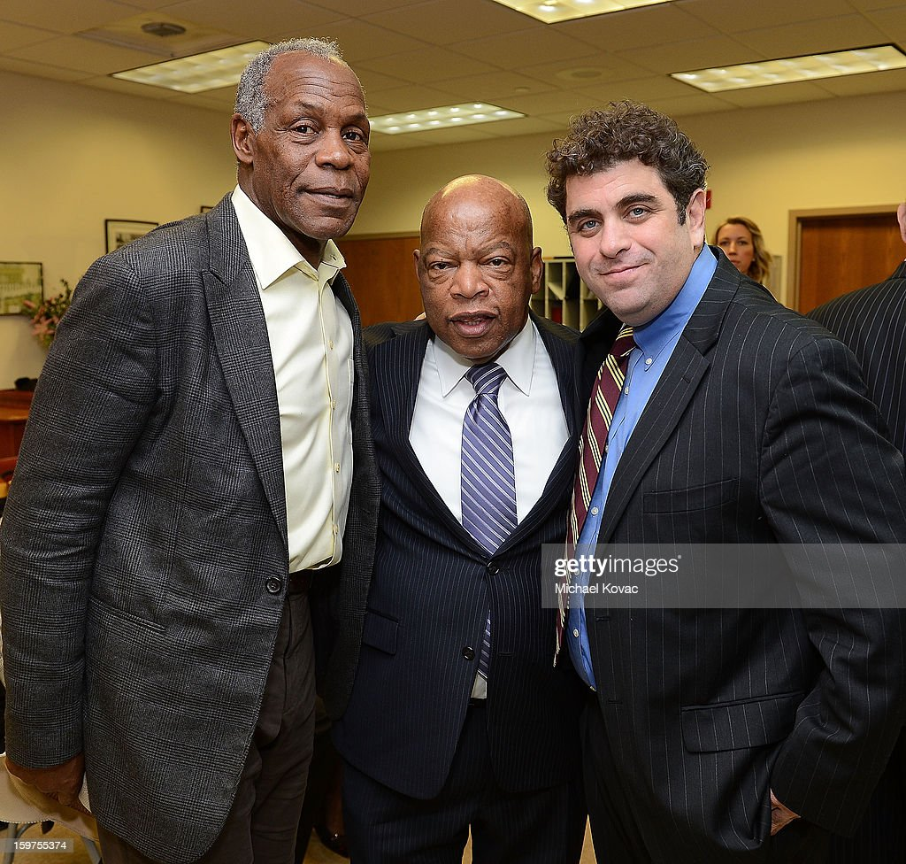 Actor Danny Glover, Congressman John Lewis and director/writer Eugene Jarecki attend 'The House I Live In' Washington DC screening at Shiloh Baptist Church on January 19, 2013 in Washington, DC.