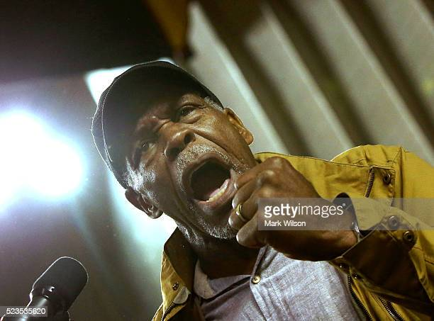 Actor Danny Glover speaks during a campaign event for Democratic presidential candidate US Sen Bernie Sanders at the Royal Farms Arena April 23 2016...